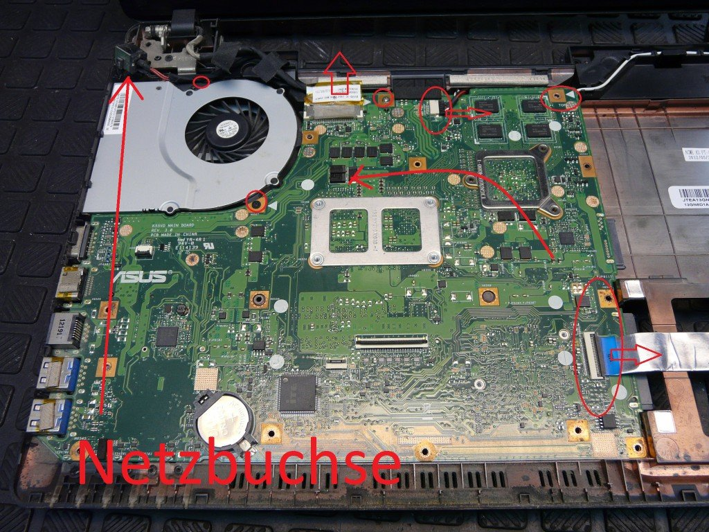 ASUS A55V netzbuchse defekt Brennt (8)
