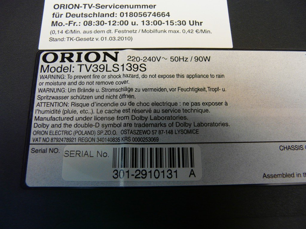 Orion TV39LS139S LED Backlight (8)