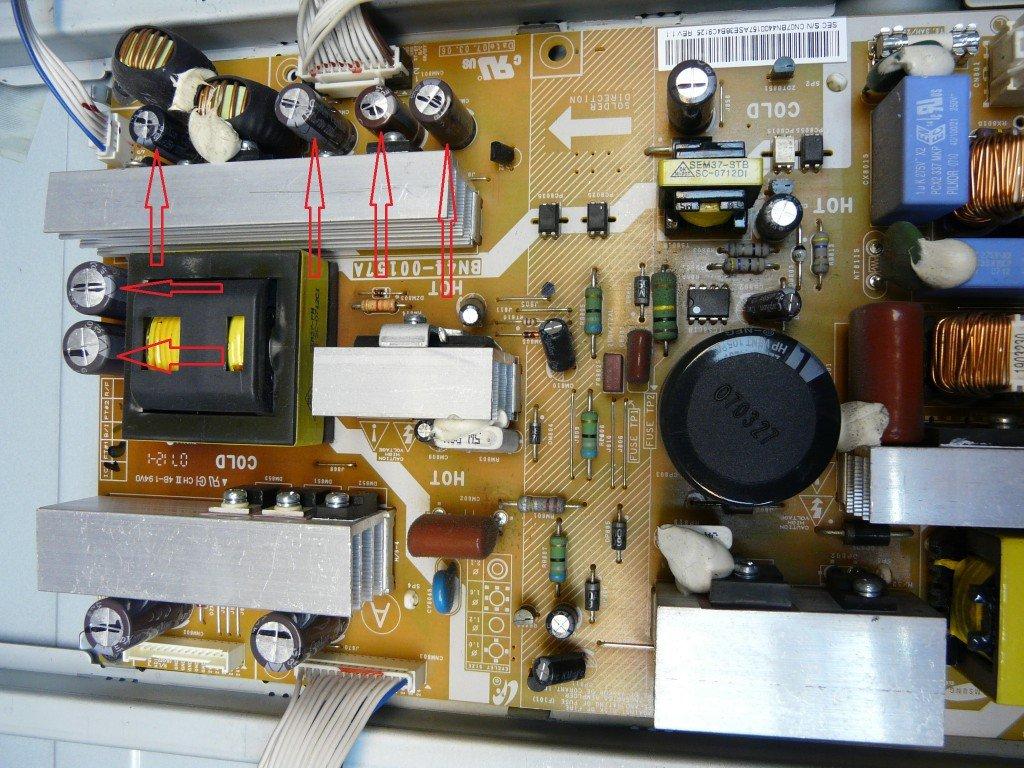 Samsung LE37M87 geht schwer an, kondensatoren defekt (4)