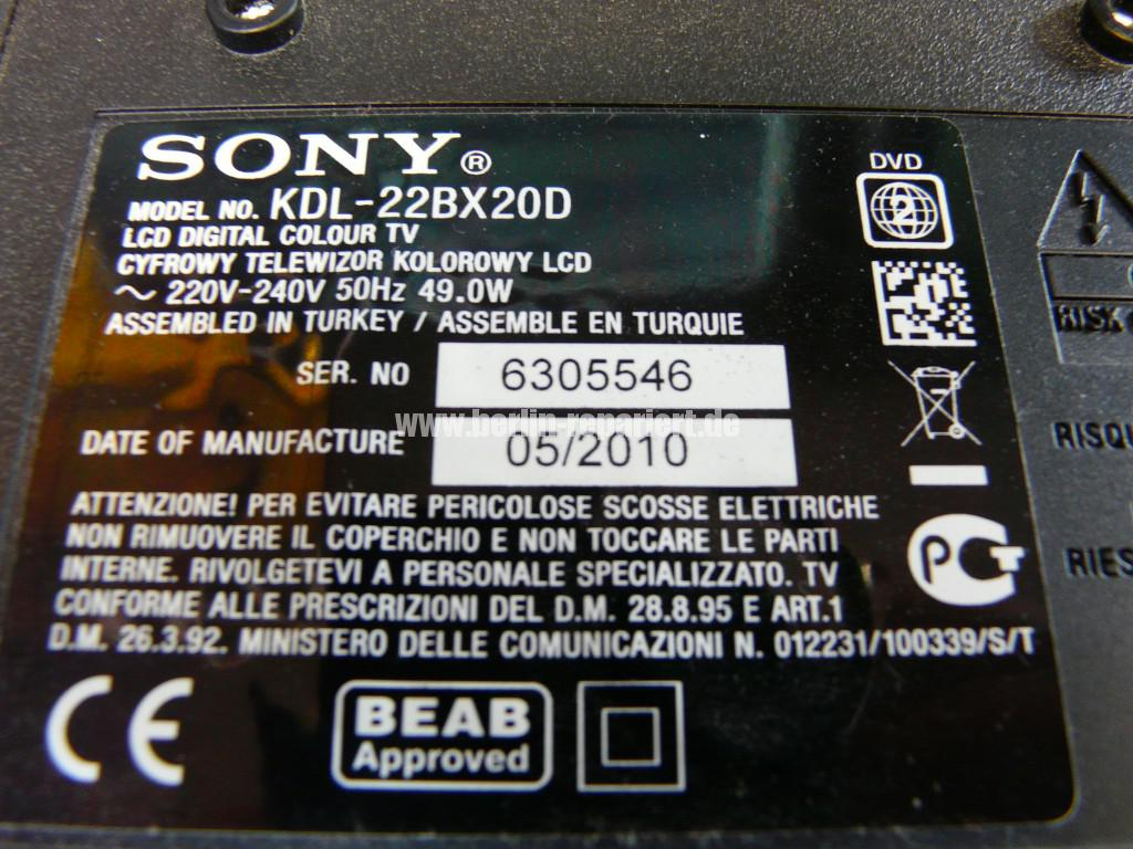 Sony KDL-22BX20D, kein Bild (9)