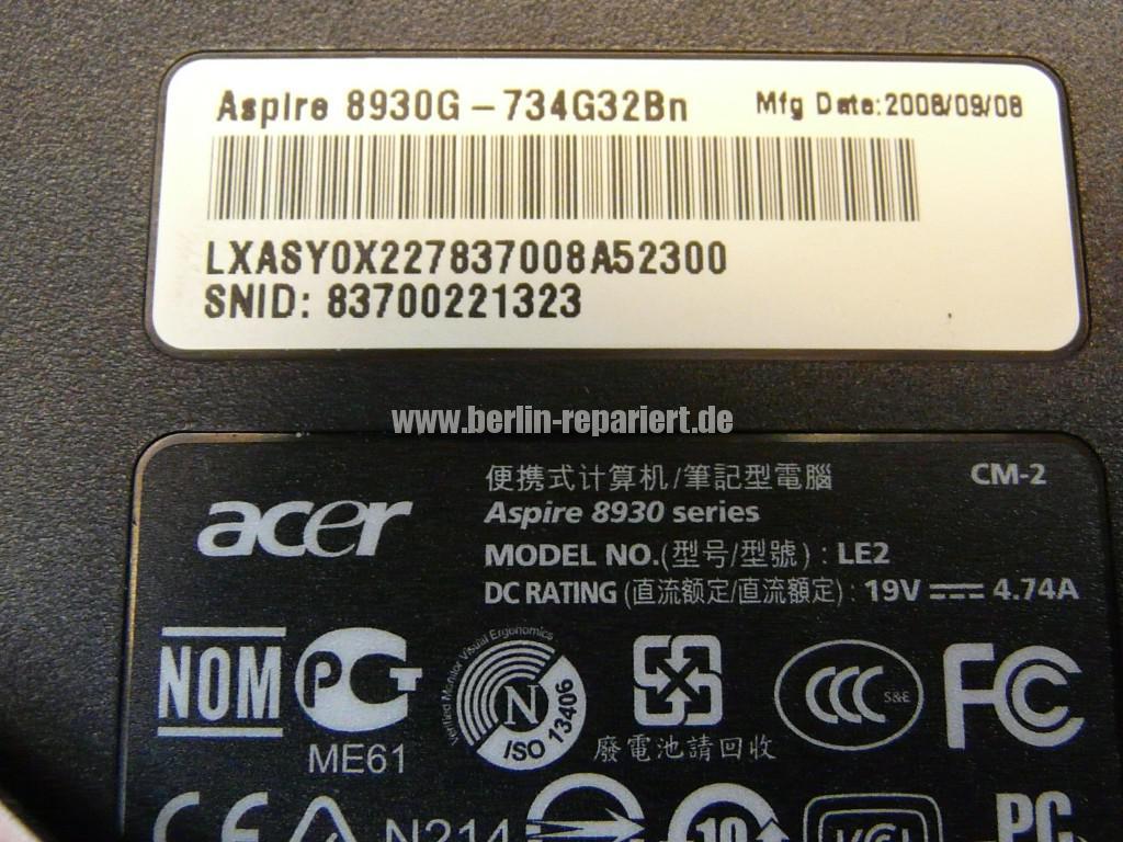 Acer Aspire 8930G, Grafik Defekt (6)