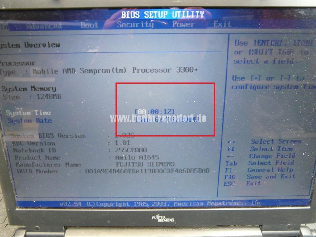 Fujitsu Amilo A1645, Bios Batterie (6)