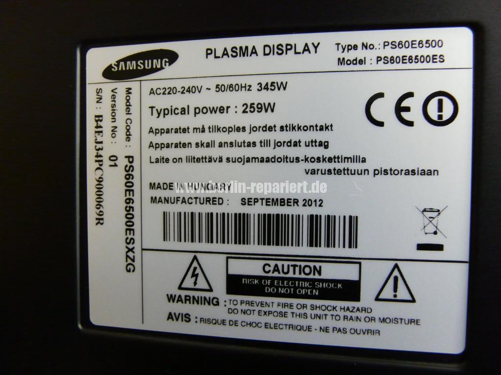 Samsungn PS60E6500, geht aus, geht nicht an, keine Funktion(12)