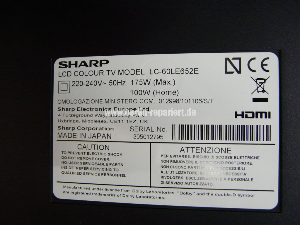Sharp LC-60LE652, Steuer Board DUNTKG135FM11 Defekt (4)