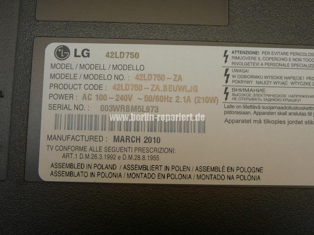 LG 42LD750, Schaltet nicht ein, Standby blinkt langsam (8)