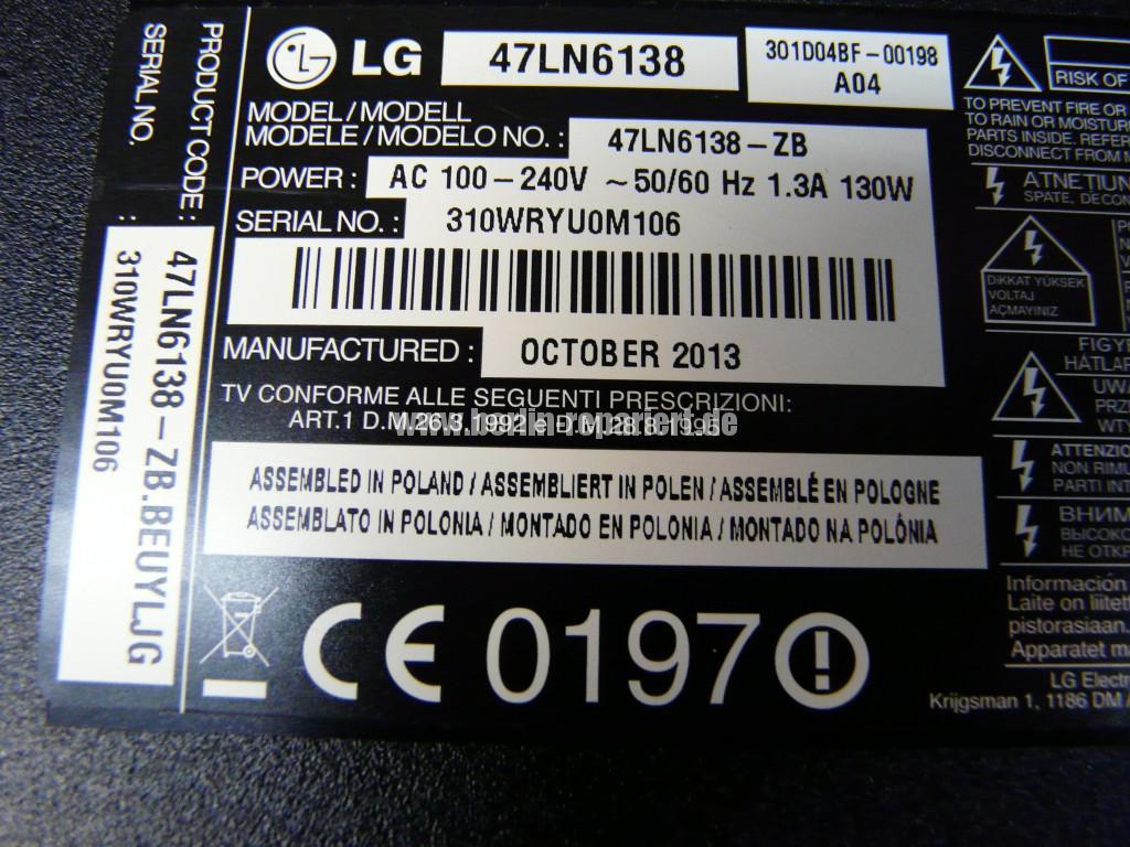 LG 47LN6138, geht nicht an, keine Funktion (10)