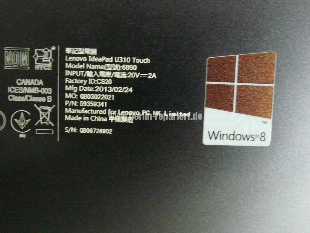 Lenovo Ideapad U310, Display Defekt, Scharniere Defekt (5)