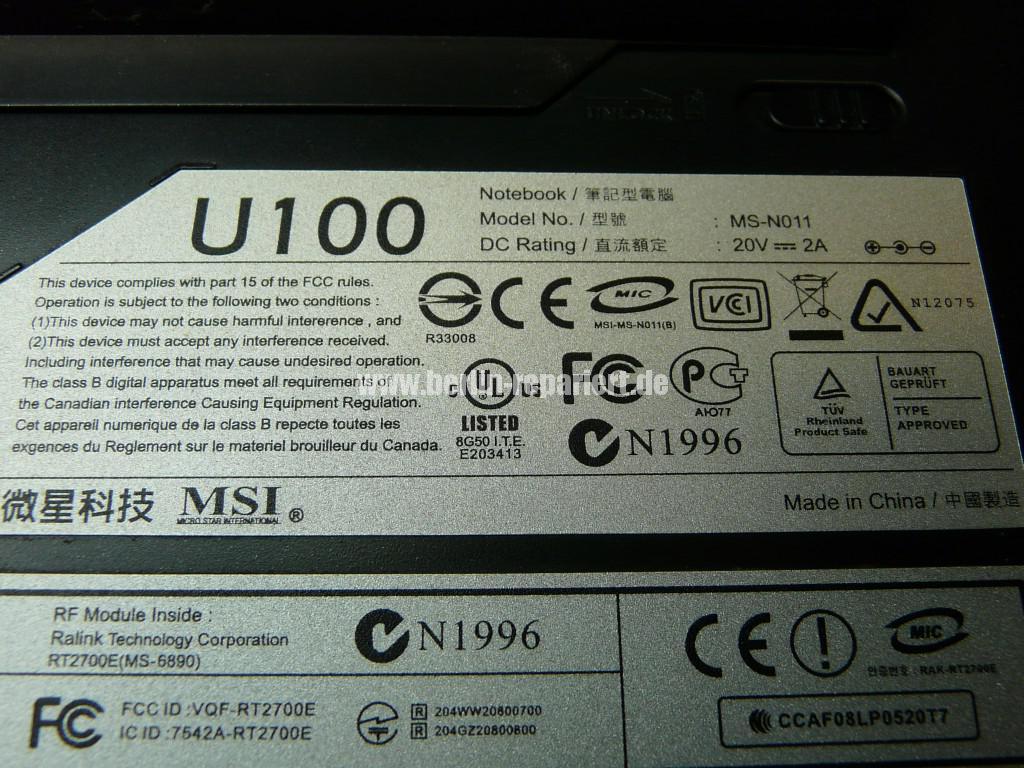 MSI U100, Display Schaden (9)