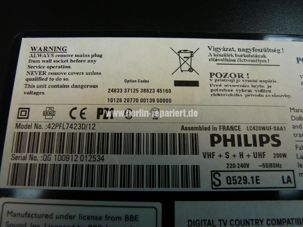 Philips 42PFL7423D12, keine Funktion Blinkt 3x (9)