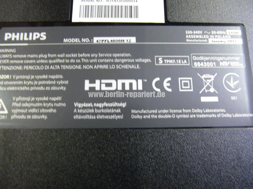 Philips 47PFL4606, geht nicht an, Stby OK (13)
