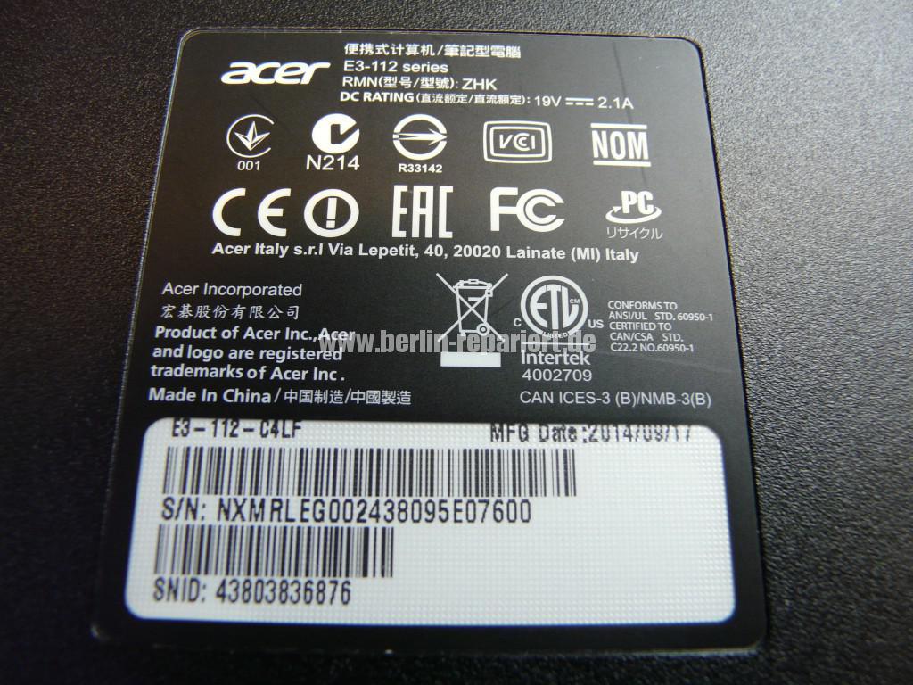 Acer Qualität E3-112 Akku Defekt (11)
