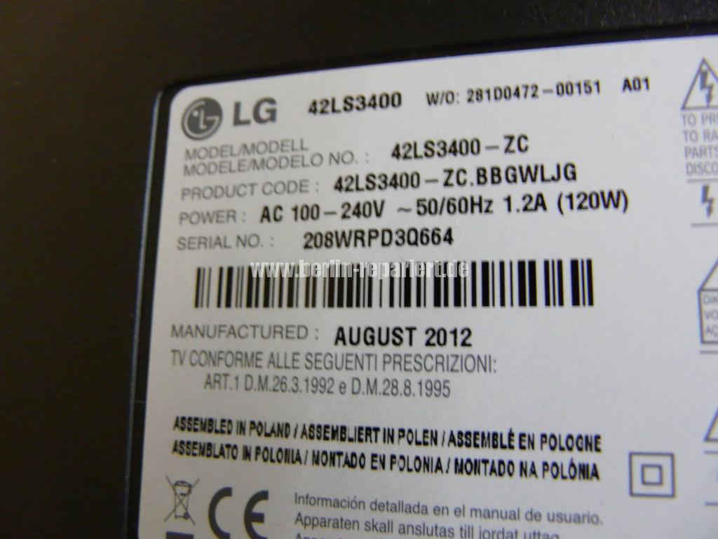 LG Qualität LG42LS3400, geht An LG Logo kommt dann Aus (7)