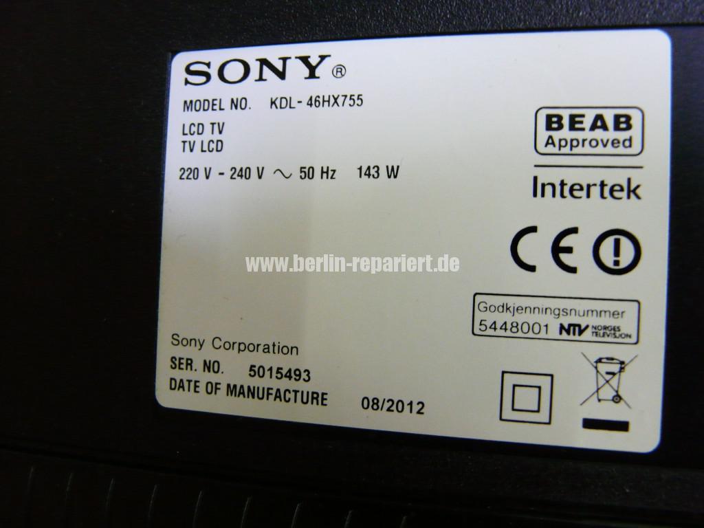Sony KDL46HX755, geht Aus und Blinkt (14)