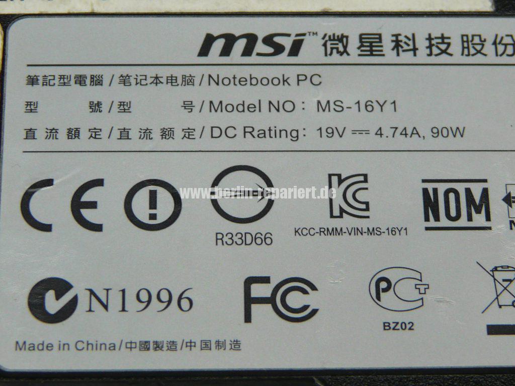 MSI MS-16Y1, Lüfter geht nicht, Netzbuchse har wackelkontakt (14)