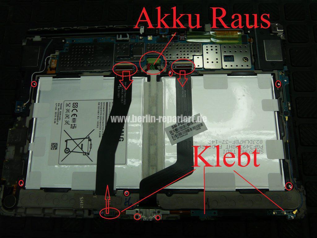 Samsung Galaxy TAB 2014Edition SM-P605, Display defekt, Akku austauschen (4)