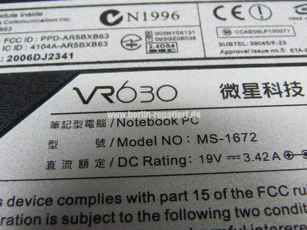 MSI VR 630, geht nicht an (9)
