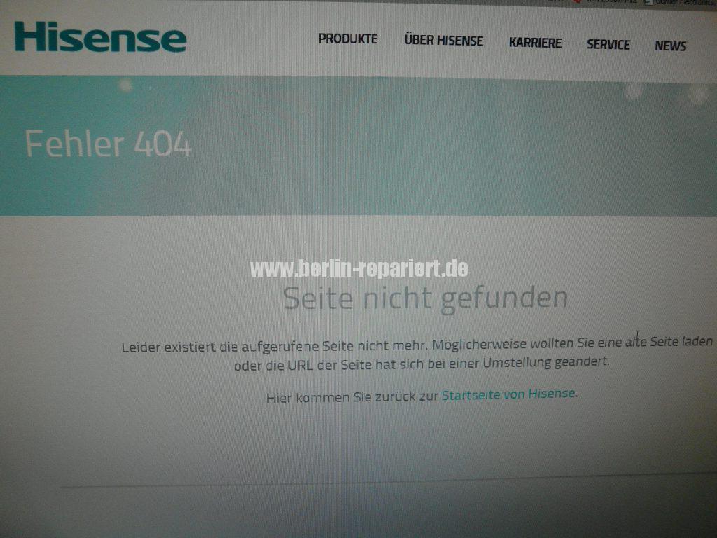 Hisense Fehler 404