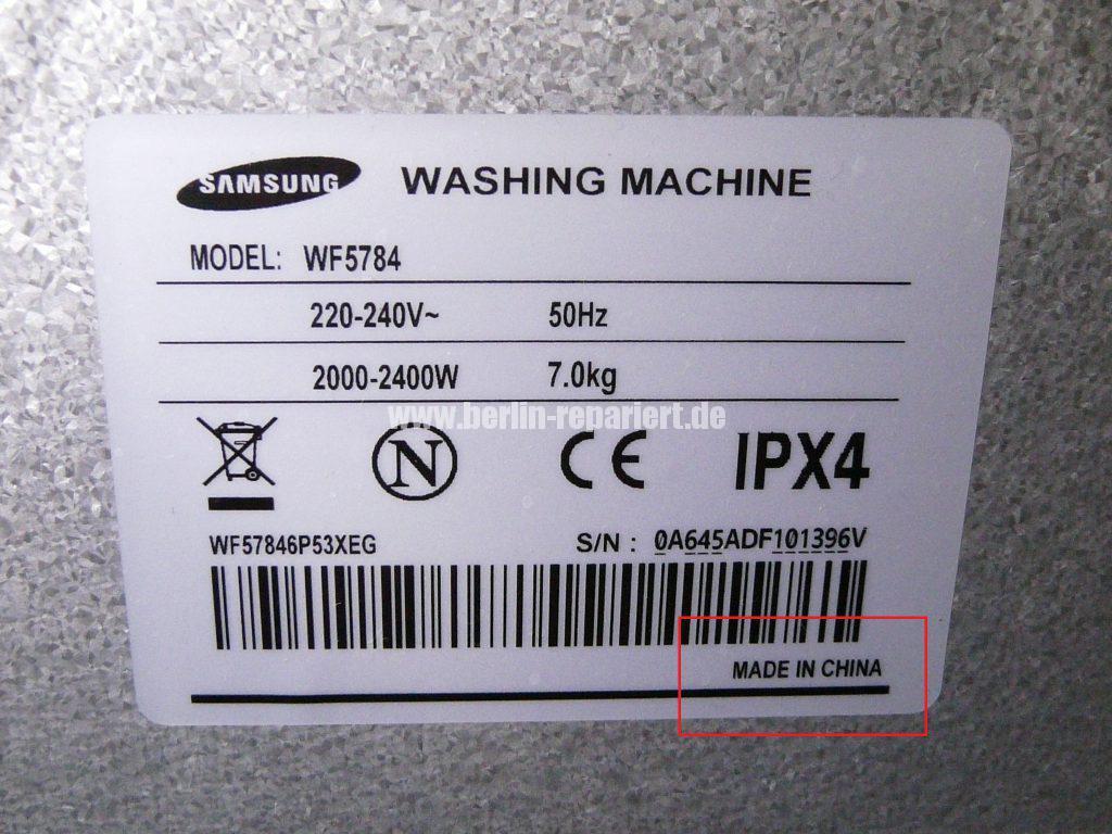 Samsung WF5784, Error TE (18)