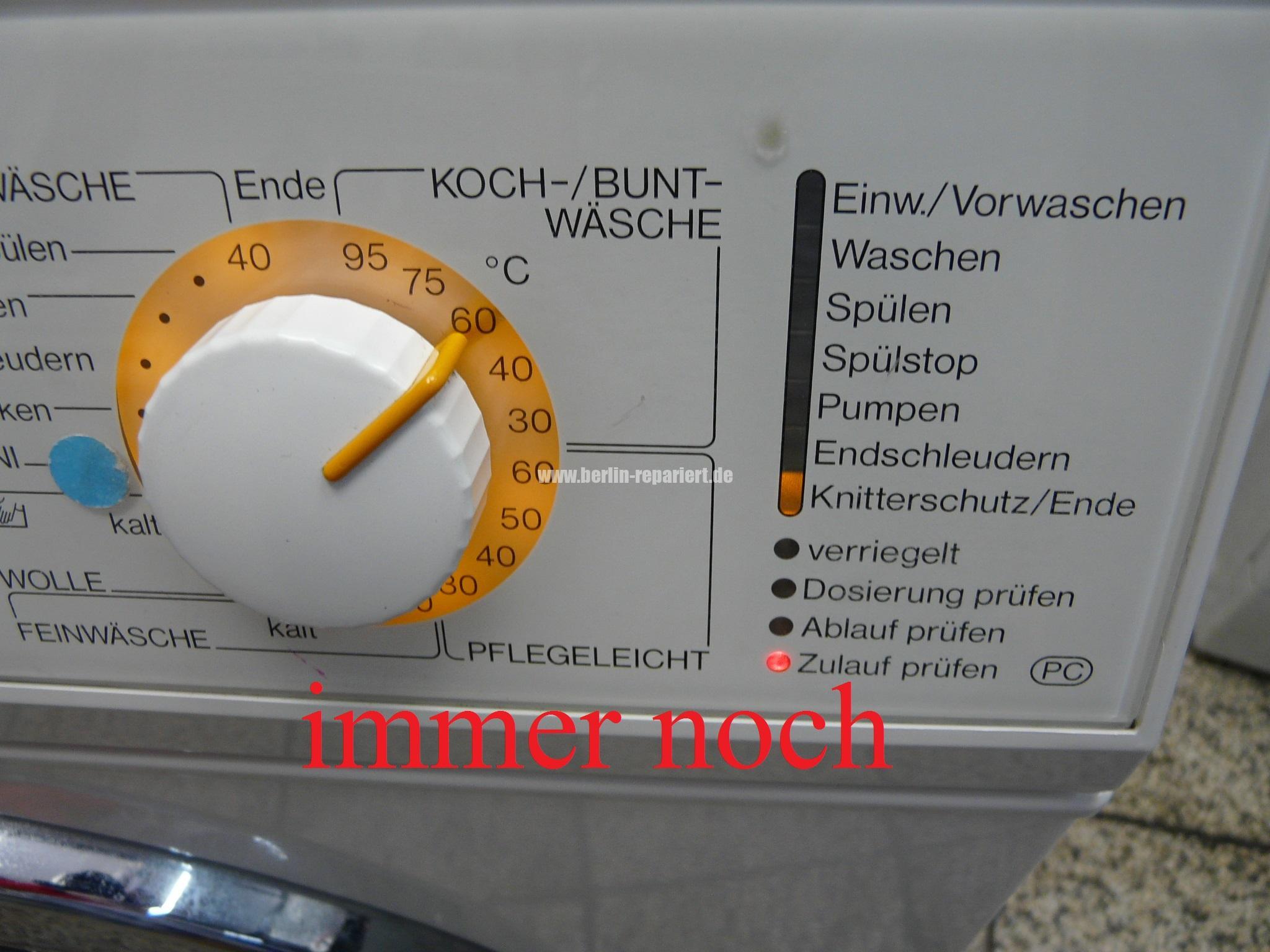 Miele Novotronic W986 Fehlermeldung Zulauf Prüfen Zieht Kein Wasser