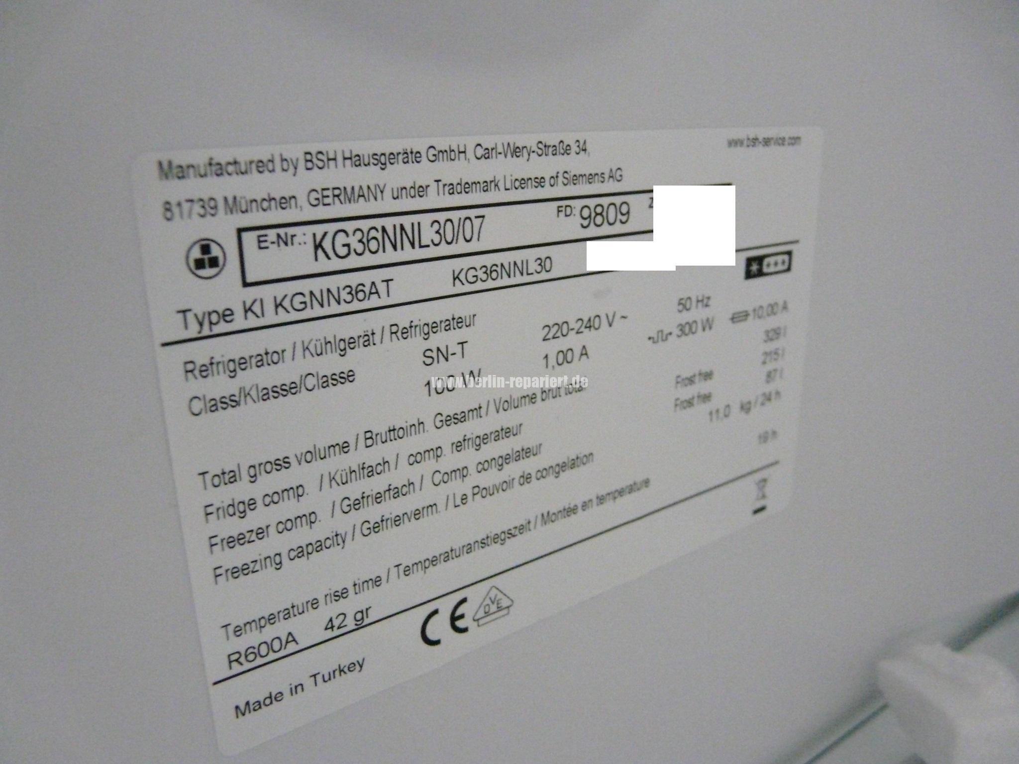 Siemens Kühlschrank Temperatur : Siemens kg nnl made in turkey mit chinesischer jia xipera